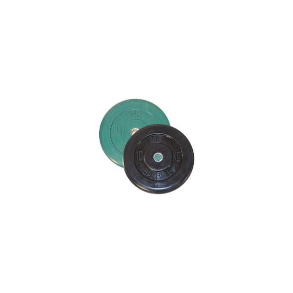 Диск черный обрезиненный диаметр 26 мм или 31 мм BARBELL весом 10 кг