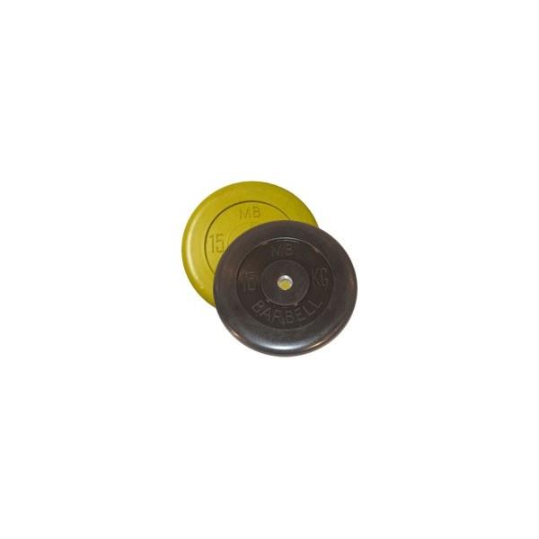 Диск черный обрезиненный диаметр 26 мм или 31 мм BARBELL весом 15 кг