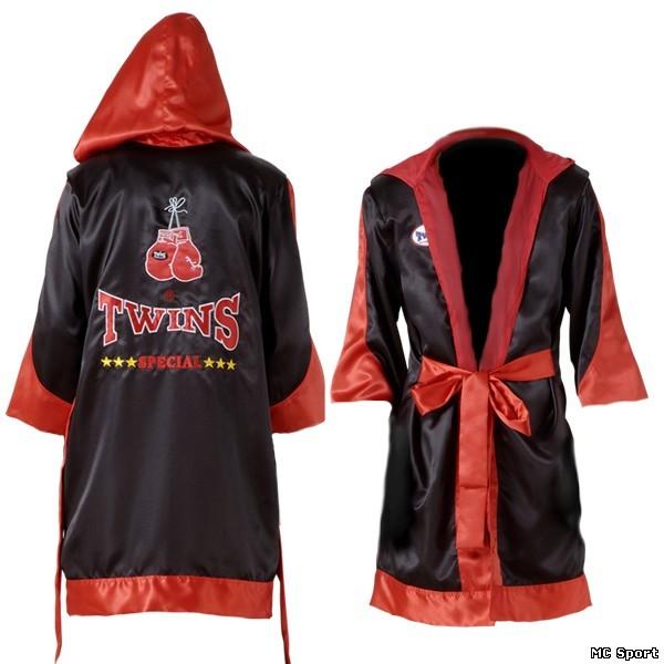 Халат боксерский с капюшоном красный/черный
