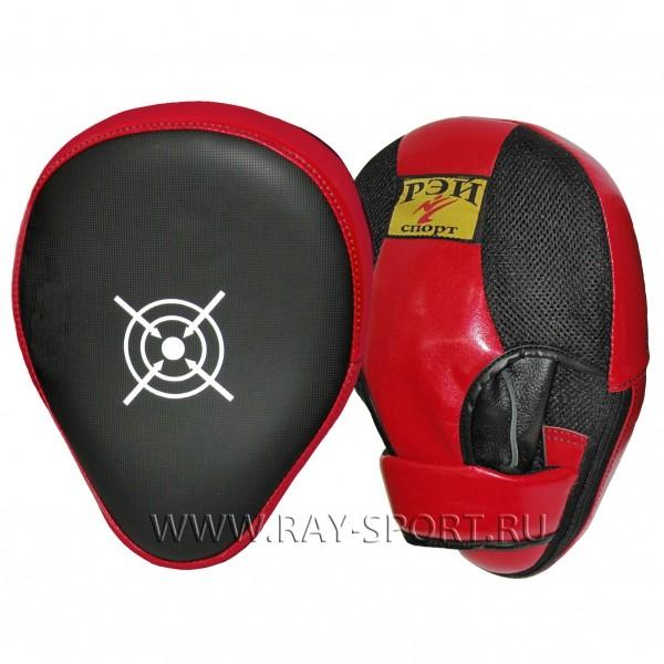 Лапа боксёрская загнутая, 22х29 см, защита пальцев, искожа.