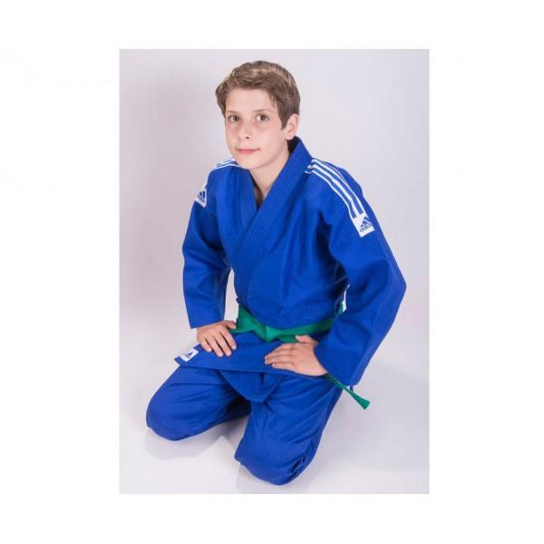 Кимоно для дзюдо Adidas подростковое Club синее с черными полосками J350B