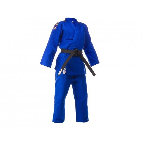 Кимоно для дзюдо Champion 2 IJF синее с золотыми полосками J-IJFB Adidas