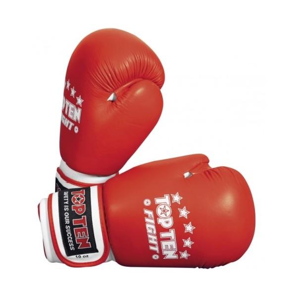 Перчатки для бокса и кикбоксинга Top Ten Fight  кожа, иск.кожа,липучка (топ тен)