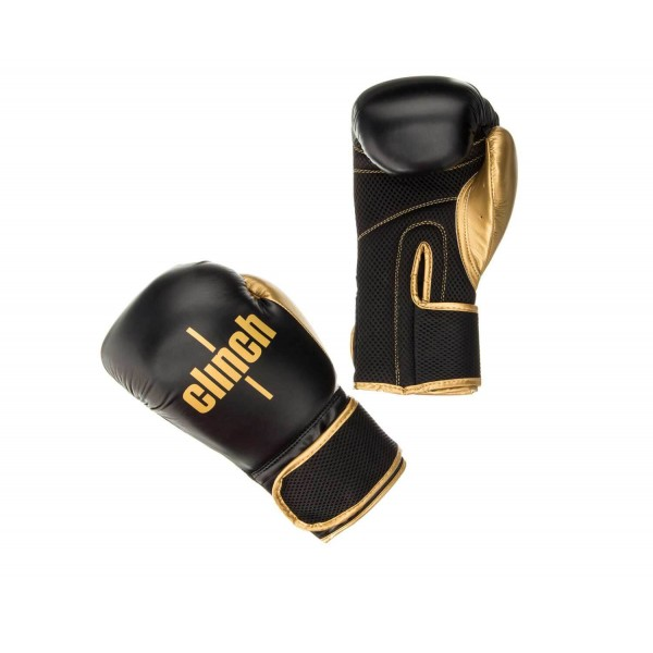 Перчатки боксерские Clinch Aero черно-золотые