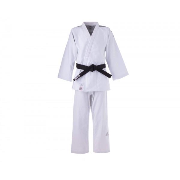 Кимоно для дзюдо Adidas Champion 2 IJF Slim Fit Premium белое с серебристыми полосками J-IJFS
