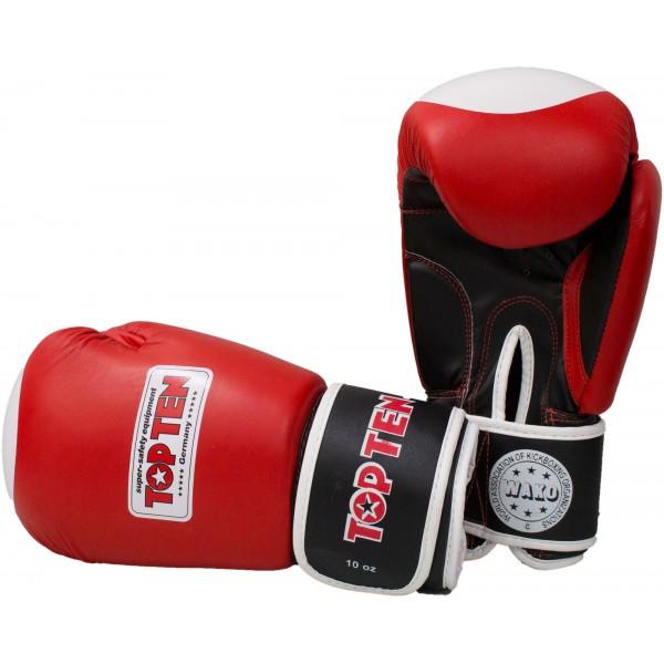 Перчатки для кикбоксинга TOP TEN WAKO 10 oz  кожа