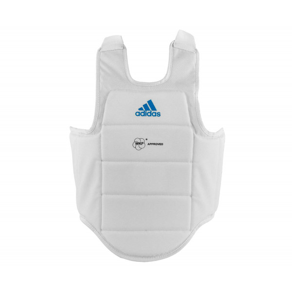 Защита корпуса Adidas CHEST GUARD WKF белая с голубым логотипом